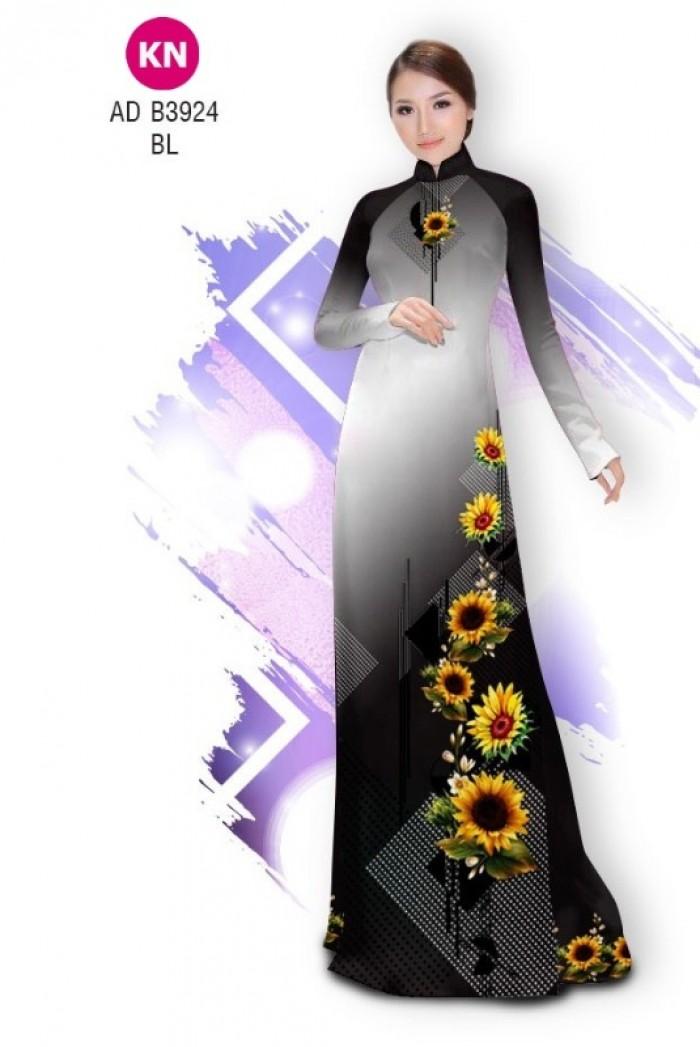 Vải áo dài hình hoa hướng dương dành cho ngày tết 2020 của vải áo dài Kim Ngọc ADKN B39240