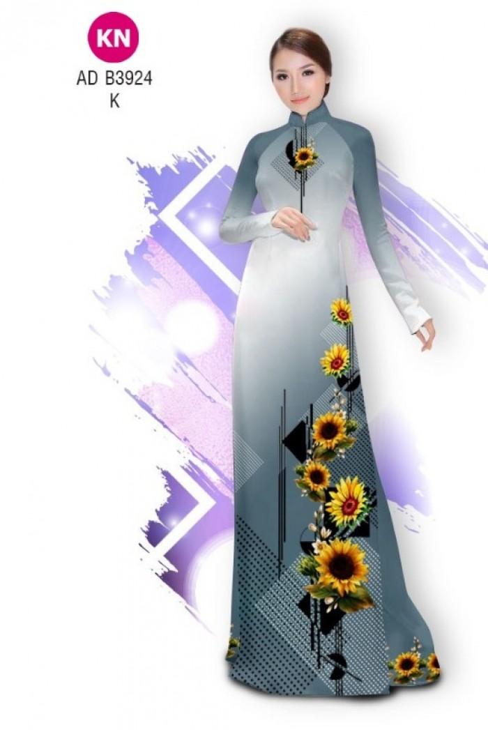 Vải áo dài hình hoa hướng dương dành cho ngày tết 2020 của vải áo dài Kim Ngọc ADKN B39242