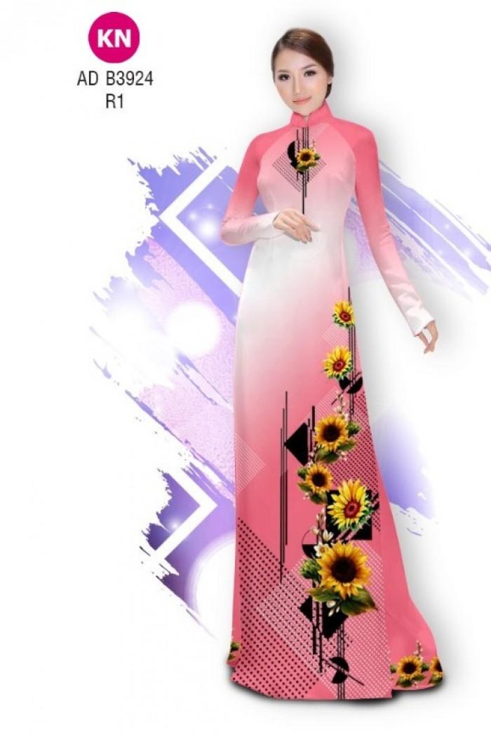 Vải áo dài hình hoa hướng dương dành cho ngày tết 2020 của vải áo dài Kim Ngọc ADKN B39241