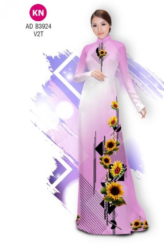 Vải áo dài hình hoa hướng dương dành cho ngày tết 2020 của vải áo dài Kim Ngọc ADKN B39243