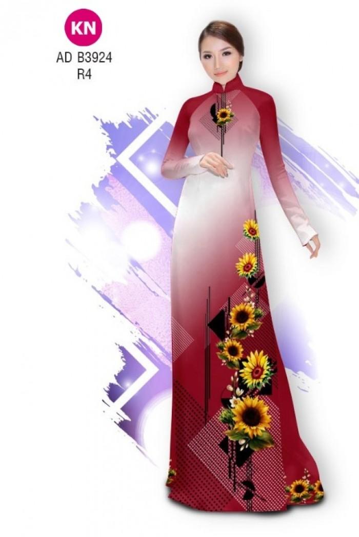 Vải áo dài hình hoa hướng dương dành cho ngày tết 2020 của vải áo dài Kim Ngọc ADKN B392412