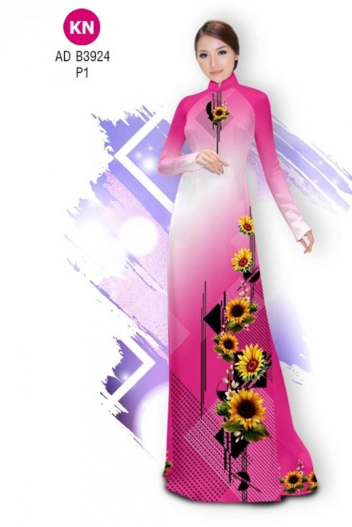 Vải áo dài hình hoa hướng dương dành cho ngày tết 2020 của vải áo dài Kim Ngọc ADKN B392417