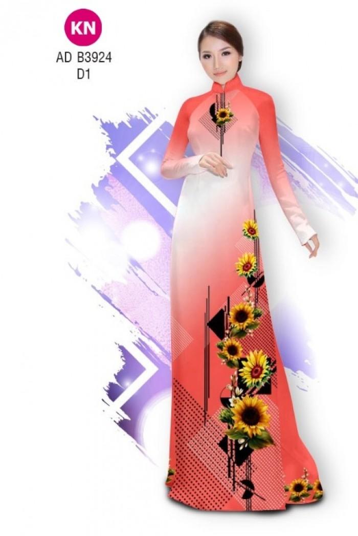 Vải áo dài hình hoa hướng dương dành cho ngày tết 2020 của vải áo dài Kim Ngọc ADKN B39247