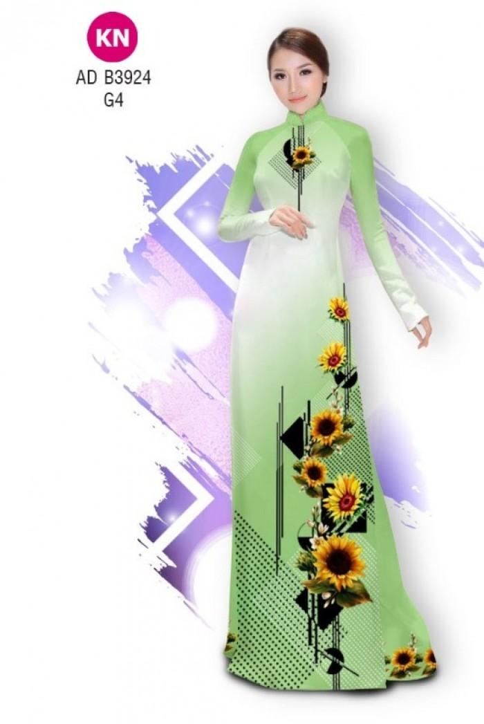 Vải áo dài hình hoa hướng dương dành cho ngày tết 2020 của vải áo dài Kim Ngọc ADKN B392416