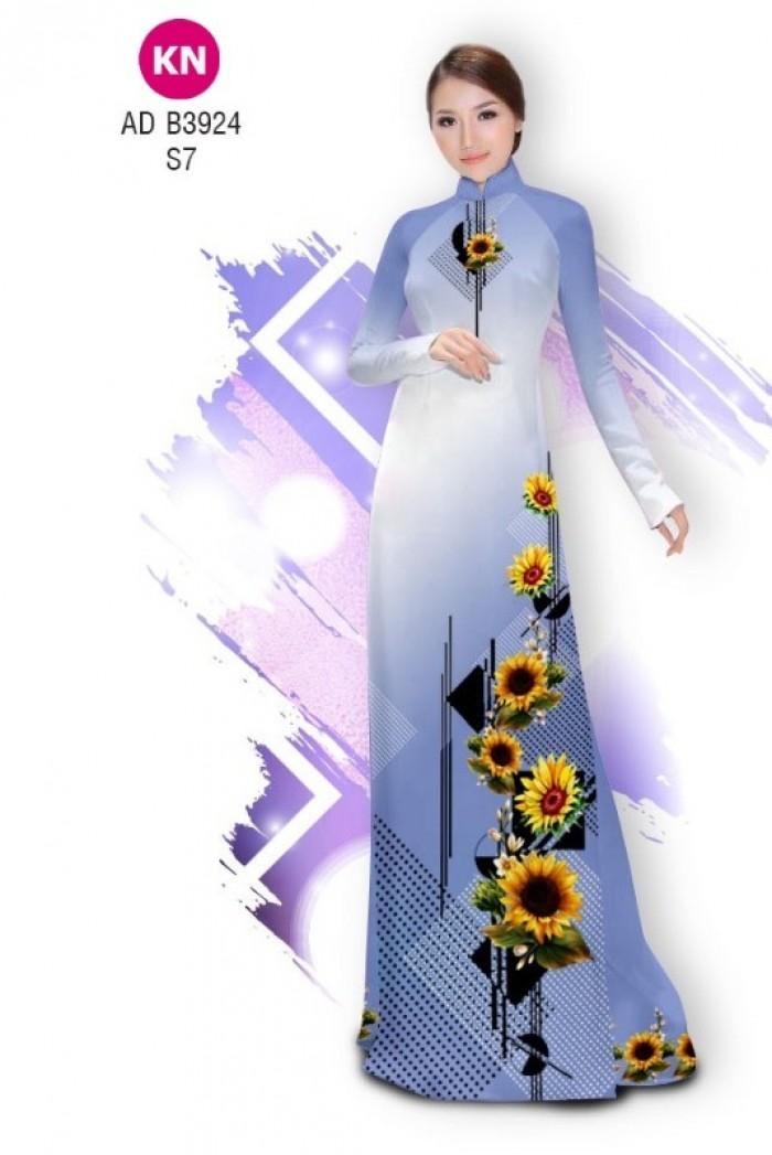 Vải áo dài hình hoa hướng dương dành cho ngày tết 2020 của vải áo dài Kim Ngọc ADKN B392411