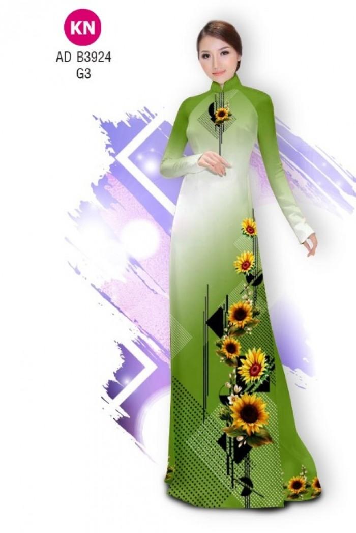 Vải áo dài hình hoa hướng dương dành cho ngày tết 2020 của vải áo dài Kim Ngọc ADKN B39246