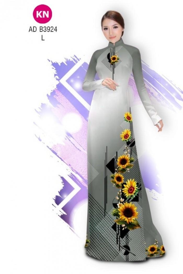 Vải áo dài hình hoa hướng dương dành cho ngày tết 2020 của vải áo dài Kim Ngọc ADKN B39248