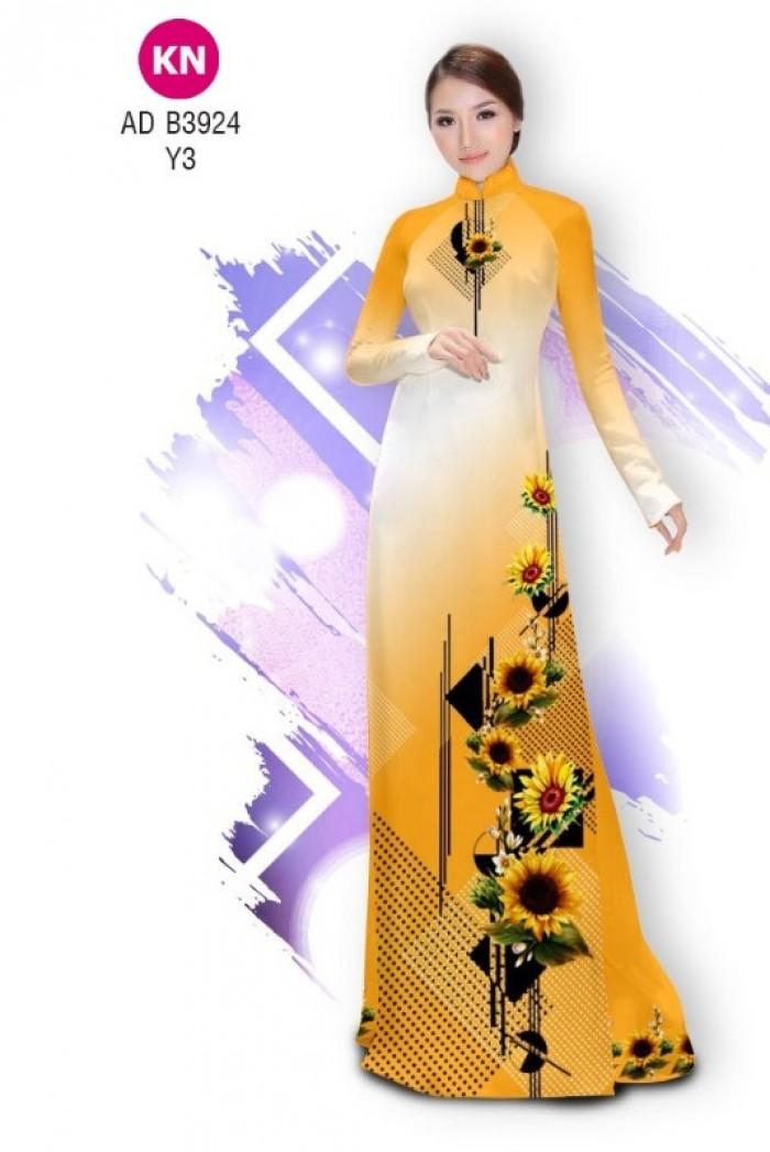 Vải áo dài hình hoa hướng dương dành cho ngày tết 2020 của vải áo dài Kim Ngọc ADKN B392415