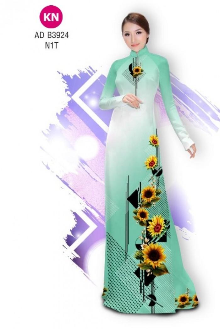 Vải áo dài hình hoa hướng dương dành cho ngày tết 2020 của vải áo dài Kim Ngọc ADKN B39245