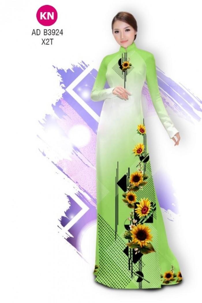 Vải áo dài hình hoa hướng dương dành cho ngày tết 2020 của vải áo dài Kim Ngọc ADKN B392413