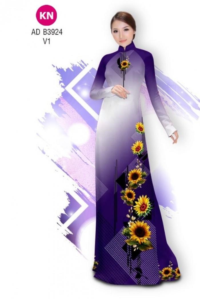 Vải áo dài hình hoa hướng dương dành cho ngày tết 2020 của vải áo dài Kim Ngọc ADKN B392414