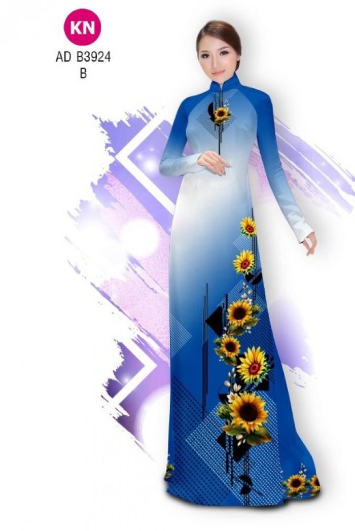 Vải áo dài hình hoa hướng dương dành cho ngày tết 2020 của vải áo dài Kim Ngọc ADKN B39244