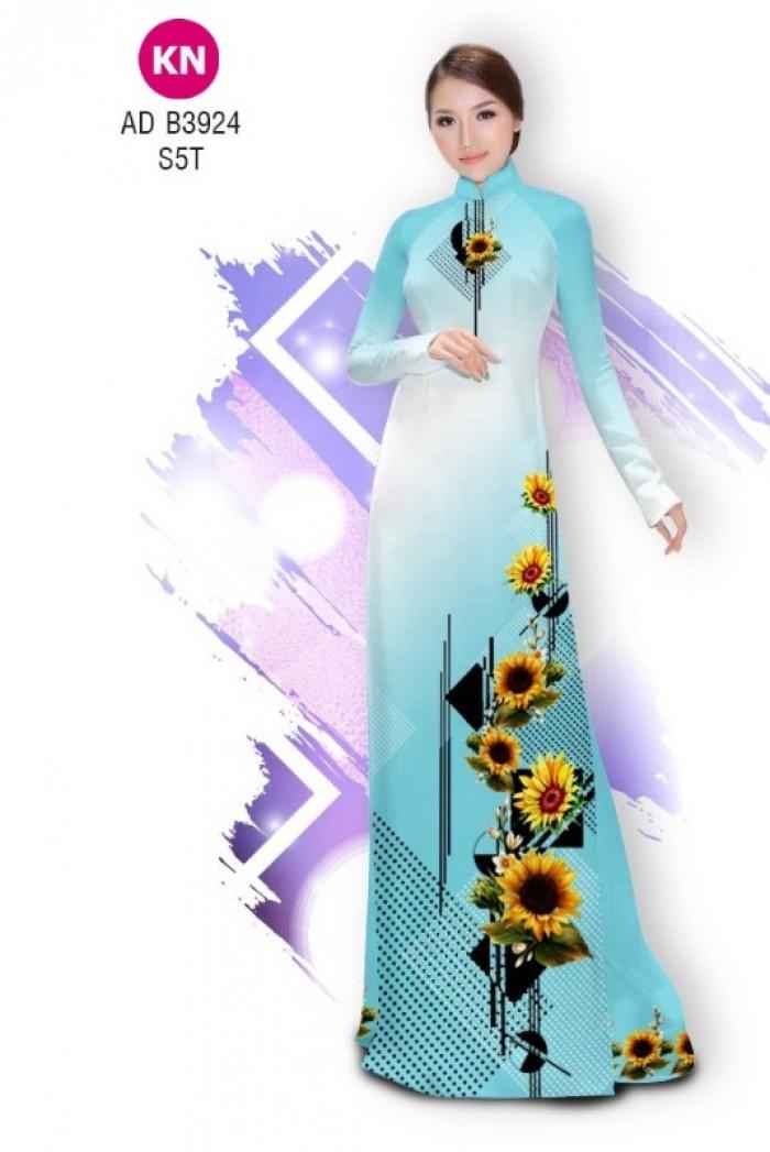 Vải áo dài hình hoa hướng dương dành cho ngày tết 2020 của vải áo dài Kim Ngọc ADKN B39249