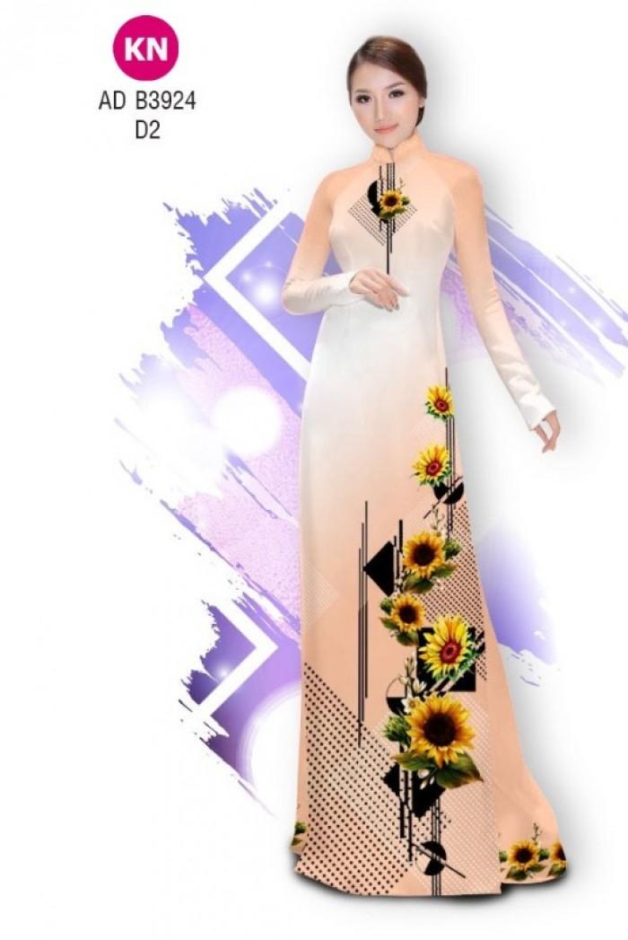 Vải áo dài hình hoa hướng dương dành cho ngày tết 2020 của vải áo dài Kim Ngọc ADKN B392410