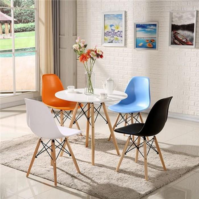 Thanh lý bộ bàn ghế nhựa chân gỗ giá rẻ sg5