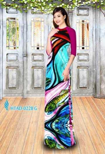 Vải may áo dài hình hoa văn voan mát , mềm, mịn0