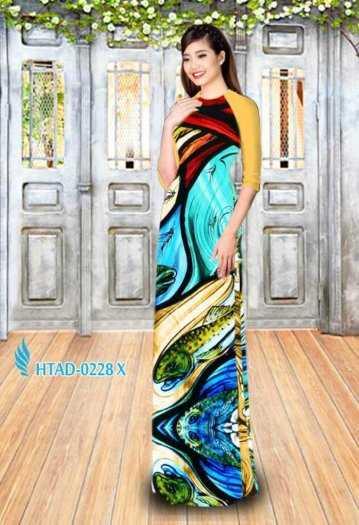 Vải may áo dài hình hoa văn voan mát , mềm, mịn1