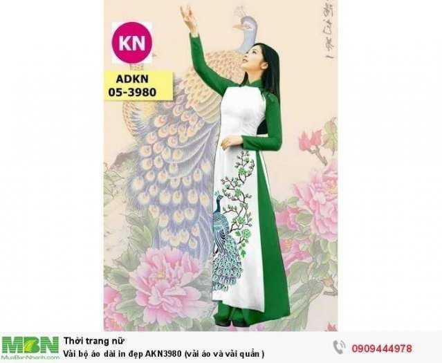 Vải bộ áo dài in đẹp AKN3980 (vải áo và vải quần )0