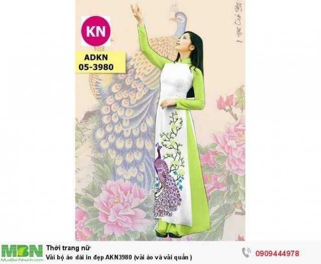 Vải bộ áo dài in đẹp AKN3980 (vải áo và vải quần )1