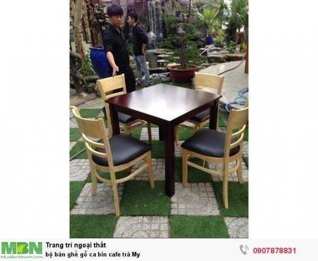 Bộ bàn ghế gỗ ca bin cafe trà My1