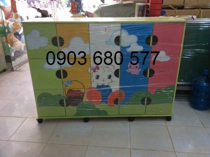 Chuyên bán tủ gỗ, tủ nhựa dành cho trường mầm non, lớp mẫu giáo, gia đình10