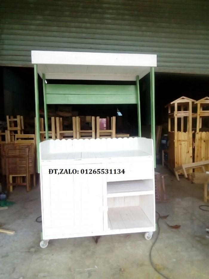 Xe gỗ bán trà sữa đẹp xanh lá mẫu 21