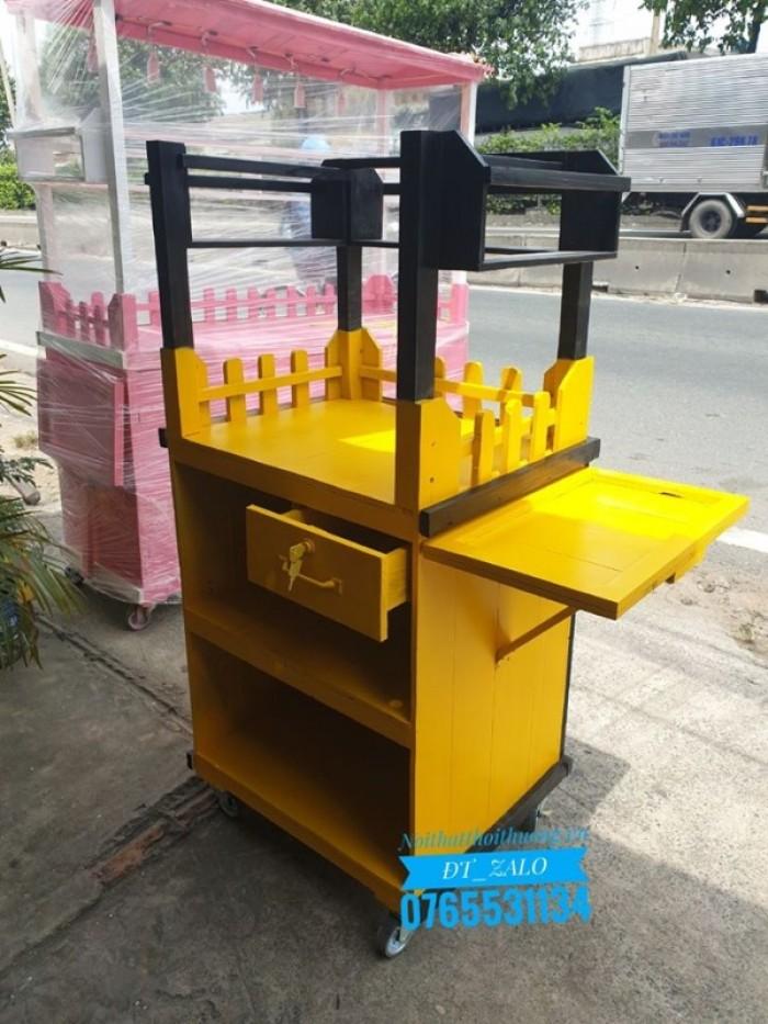 Tủ gỗ bán cà phê không mái vàng đen TG042