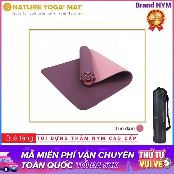 Thảm Tập Yoga TPE 2 Lớp 8MM Cao Cấp Chính Hãng NYM_Tím đậm0