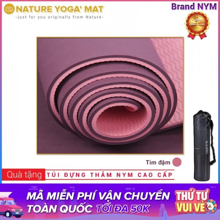 Thảm Tập Yoga TPE 2 Lớp 8MM Cao Cấp Chính Hãng NYM_Tím đậm1