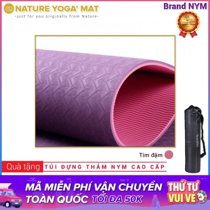 Thảm Tập Yoga TPE 2 Lớp 8MM Cao Cấp Chính Hãng NYM_Tím đậm2