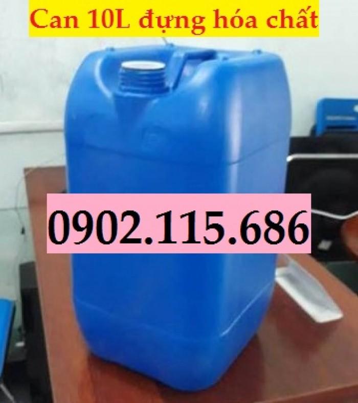 Can đựng hóa chất 10L, can đựng hóa chất nặng, can nhựa HDPE nguyên sinh,3