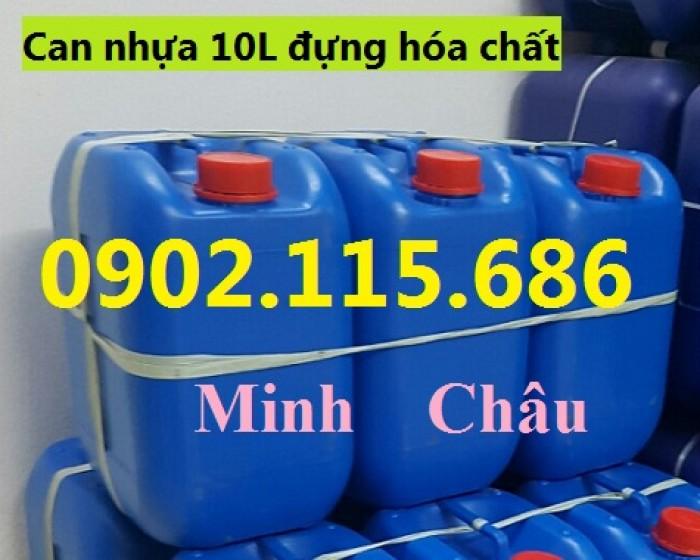 Can đựng hóa chất 10L, can đựng hóa chất nặng, can nhựa HDPE nguyên sinh,1
