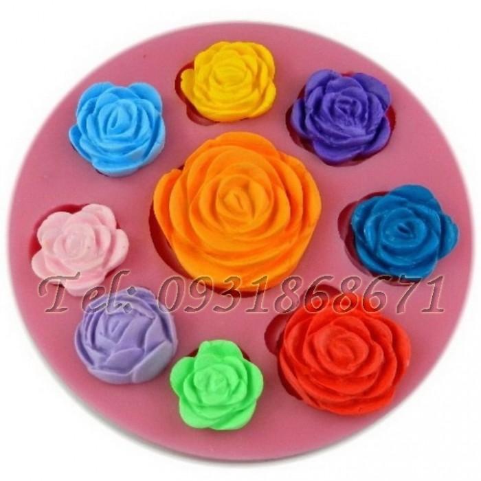Khuôn rau câu silicon 9 hoa hồng - Mã số 50