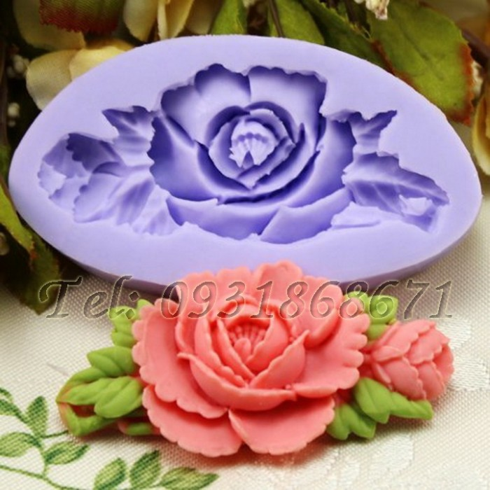 Khuôn rau câu silicon hoa hồng kèm nụ - Mã số 710