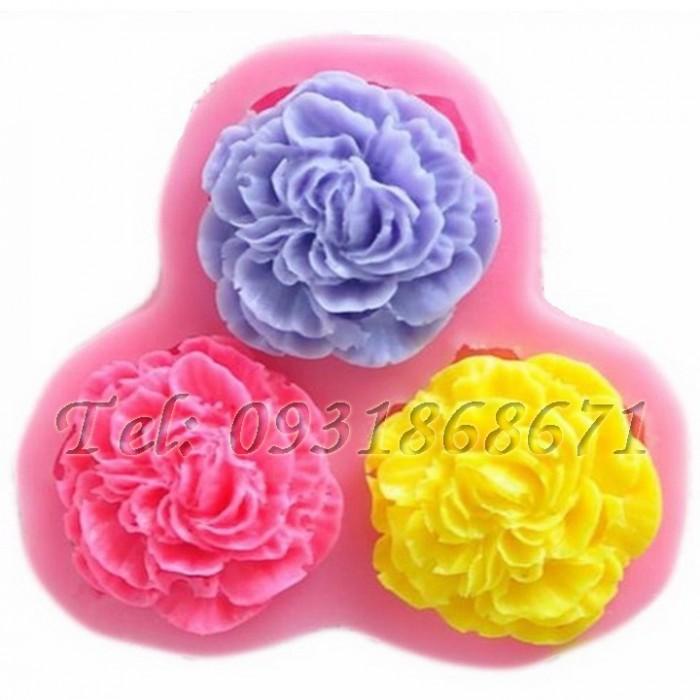 Khuôn rau câu silicon 3 hoa cẩm chướng - Mã số 630