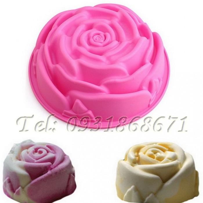 Khuôn rau câu silicon hoa hồng đại - Mã số 1280