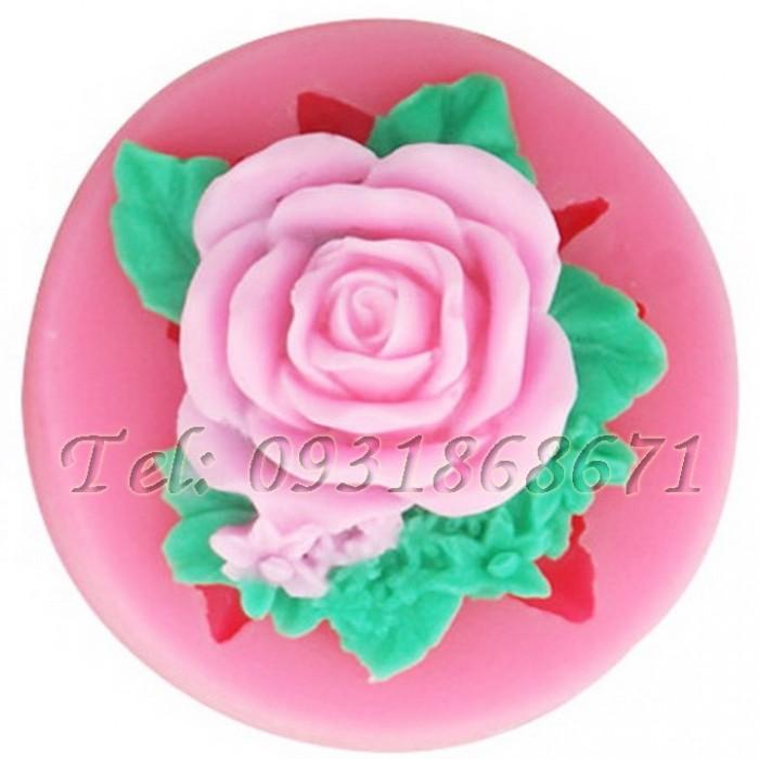 Khuôn rau câu silicon hoa hồng kèm lá - Mã số 2310