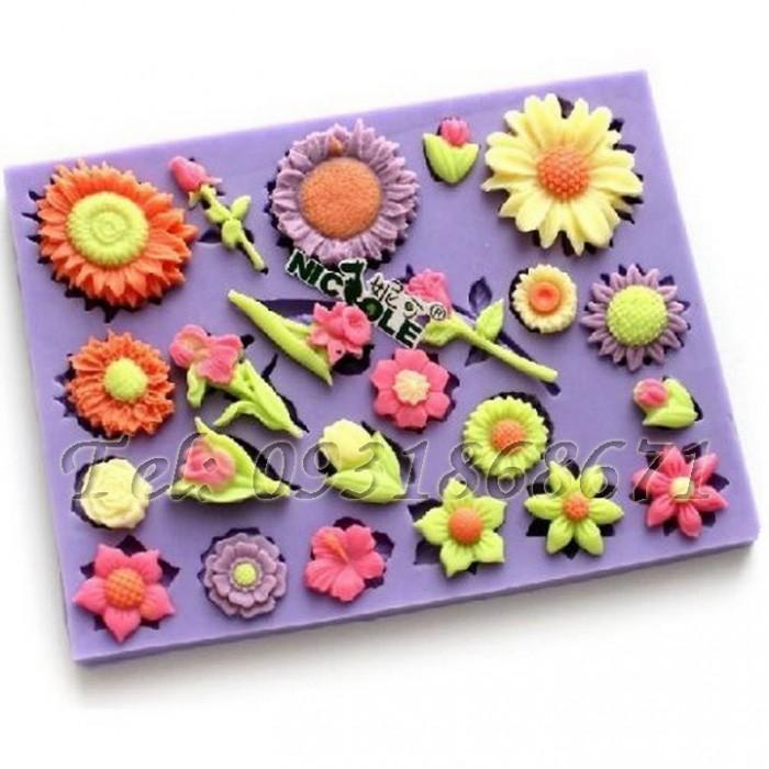 Khuôn rau câu silicon các loại hoa - Mã số 60