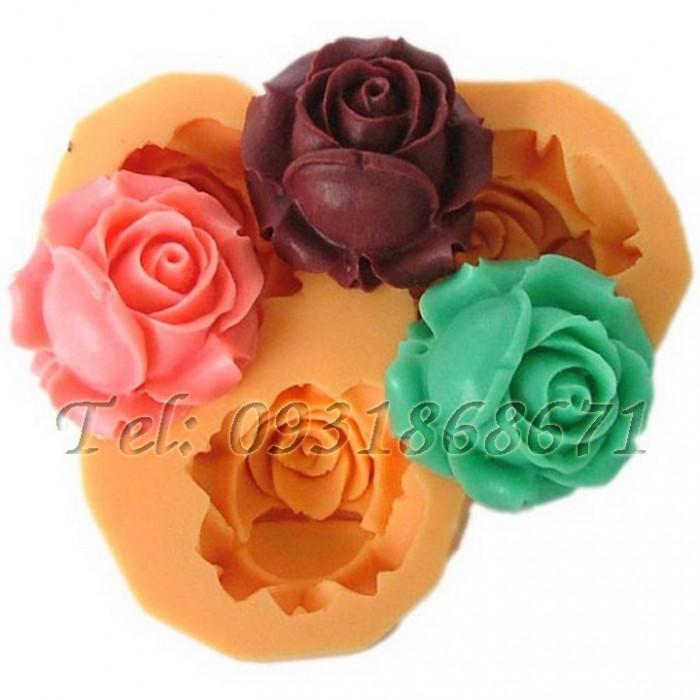 Khuôn rau câu silicon 3 hoa hồng búp - Mã số 1970