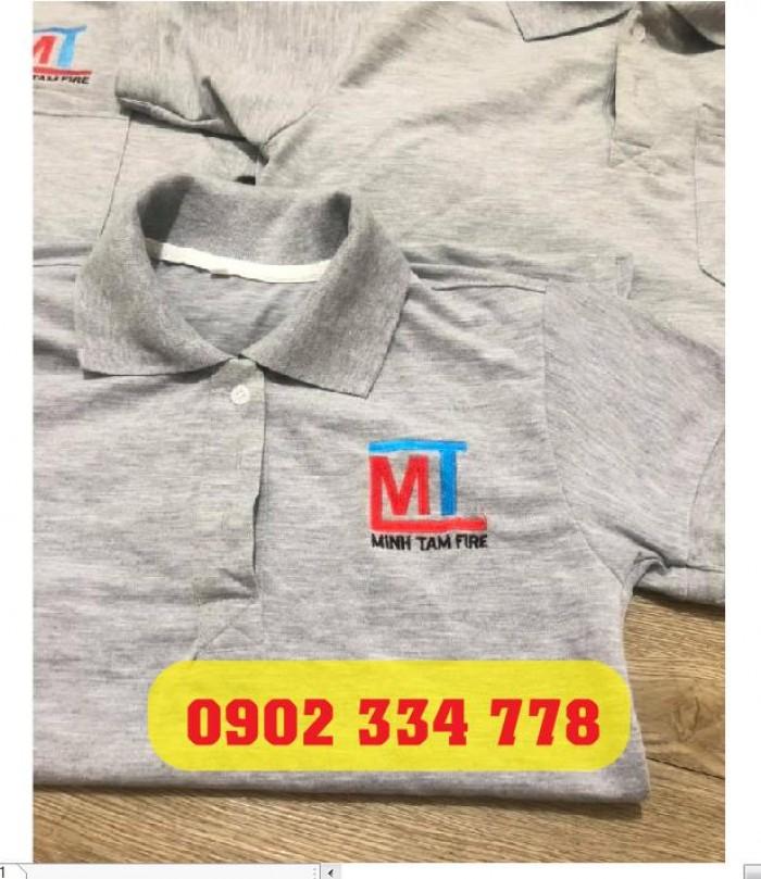áo thun đồng phục xám tiêu thêu logo