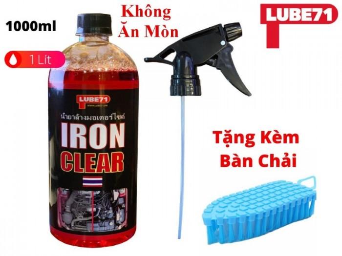 Dung Dịch Tẩy Lốc Rửa Máy Xe Đa Năng Không Ăn Mòn Lube71 Iron Clear 1 Lít Tặng Bàn Chải