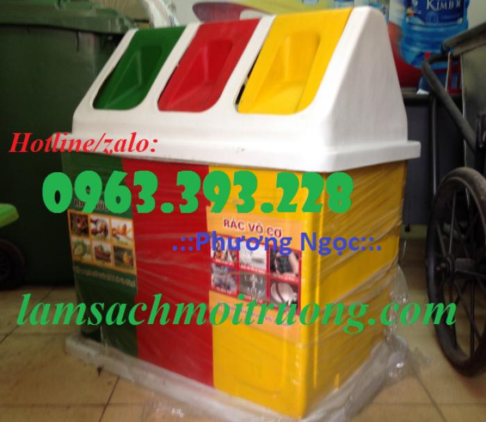Thùng rác 3 ngăn hình mái nhà, thùng rác composite2