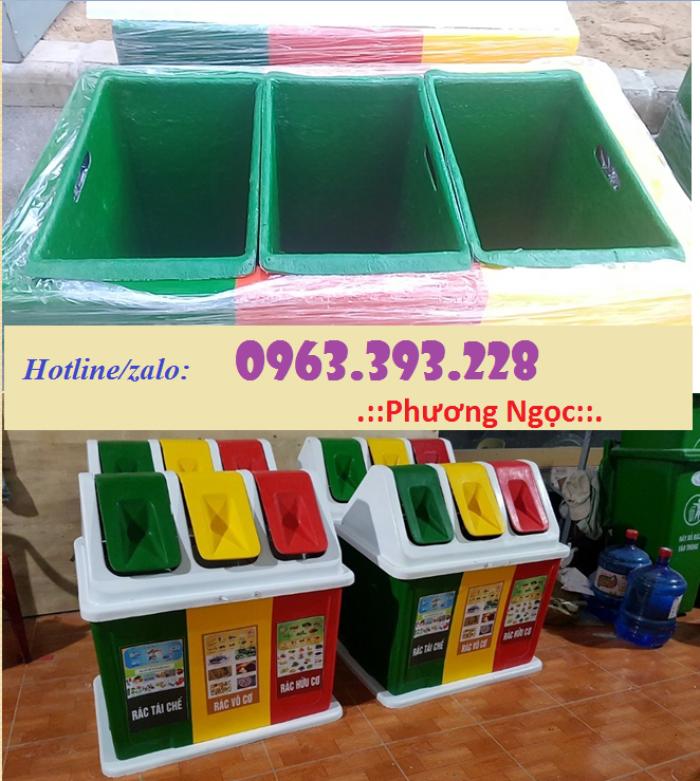 Thùng rác 3 ngăn hình mái nhà, thùng rác composite5