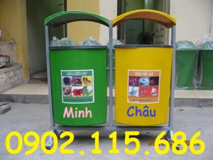 Thùng rác nhựa treo đôi, thùng rác treo 2 ngăn, thùng rác treo đôi 80L, thùng rác treo đôi 55L,1