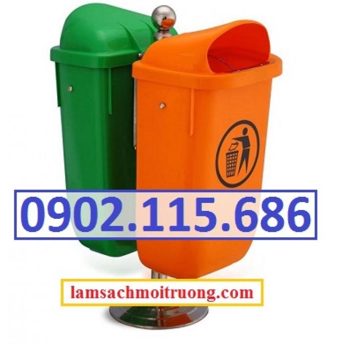 Thùng rác nhựa treo đôi, thùng rác treo 2 ngăn, thùng rác treo đôi 80L, thùng rác treo đôi 55L,4