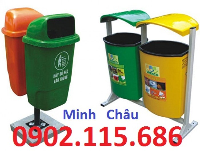 Thùng rác nhựa treo đôi, thùng rác treo 2 ngăn, thùng rác treo đôi 80L, thùng rác treo đôi 55L,0