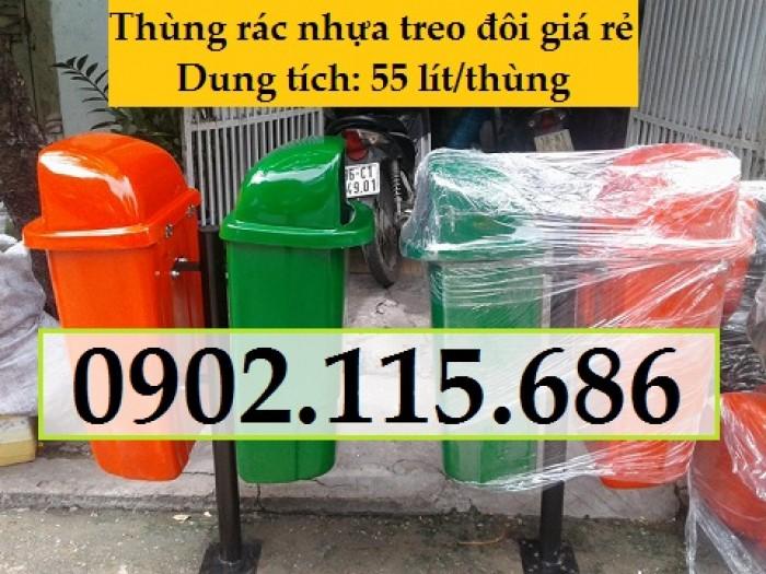 Thùng rác nhựa treo đôi, thùng rác treo 2 ngăn, thùng rác treo đôi 80L, thùng rác treo đôi 55L,2
