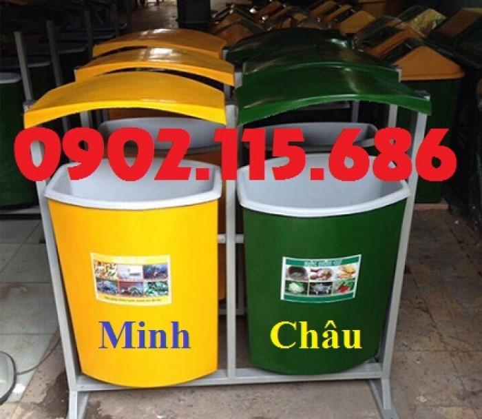 Thùng rác nhựa treo đôi, thùng rác treo 2 ngăn, thùng rác treo đôi 80L, thùng rác treo đôi 55L,3