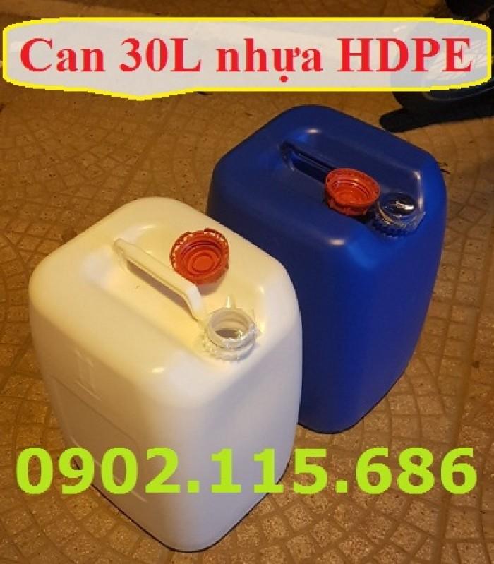 Can 30l đựng hóa chất, can 30l nhựa HDPE, can 30l loại dày, can 30l đựng axit,1