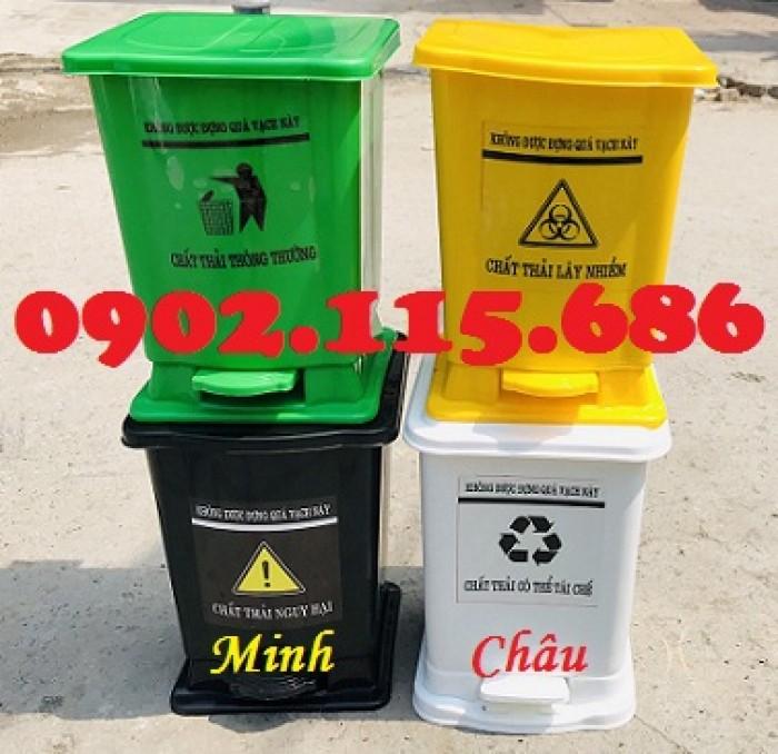 Thùng rác y tế 15 lít, thùng rác đạp chân 15 lít, thùng phân loại rác y tế 15 lít,4